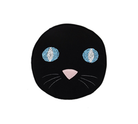 [ABODE] PUSS BLACK KIDS VELVET NOVELTY CUSHION
